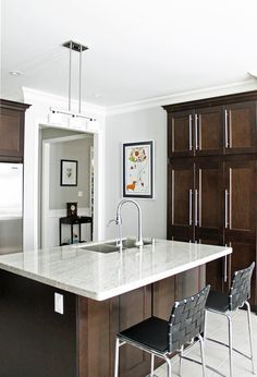 dark stained shaker cabinets with contemporary pulls & stone countertop