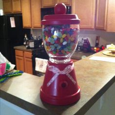 Terra cotta vase and base candy jar!