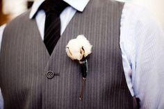 love this one!  #winterwedding: modern cotton boutonniere