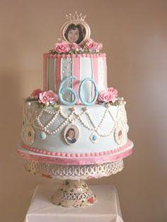 60th shabby chic cake