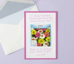 A garden-themed mother's day card complete with a seed packet.