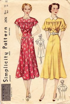 A lovely 1930s women's short sleeve dress pattern - Simplicity 2476. #vintage #sewing #patterns