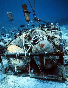 4th C. Yassiada Tektas, Turkey, large amphora taken to the surface.