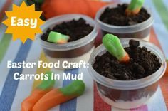 Easter Food Craft: Carrots In Mud #easter #craft #kids