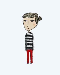 Stripe Girl - Pen and Ink Illustration - 5 x 7 Art Print