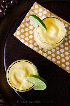 Mango Coconut Smoothies  1 1/2 cups light coconut milk  1 ripe banana  1 1/2 cups frozen mango chunks, slightly thawed  juice of one lime  agave nectar, to taste    Place ingredients in a blender, in listed order. Blend on high speed until smooth. Serve immediately.