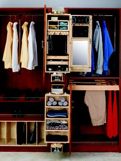 "Select a ""closet armoir"" to add that extra storage you need in a small space and do it beautifully.  Add pull out pant racks pull down rods and slanted shoe shelves with toe stop fences and you have all the things to make your closet perfect for you."