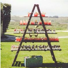 Vintage ladder used to display drinks!