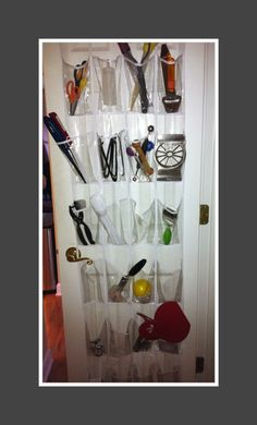 Perfect idea- shoe rack in a pantry closet. Great for snacks or cooking gadgets.