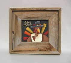 Thanksgiving Folk Art Turkey Have MercyTole by barbsheartstrokes, added an orange frame to this listing.