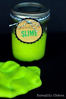 Sewer Ooze!  (glow in the dark slime)  Ingredients: 1- 4oz bottle of clear or blue gel Elmer's glue, 1 cup of warm water,  2-3 tablespoons of glow-in-the-dark paint, Green Neon Food Coloring, 2 teaspoons of Borax, 1/3 cup of warm water