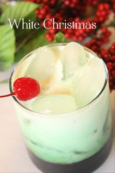 White Christmas ~ 1oz Vanilla Vodka, 1oz Kahlua Coffee Liqueur, .5oz Creme De Menthe, 3oz Half & Half, Mix all in a rocks glass and stir generously. Garnish with a cherry.