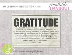 Gratitude printable for VT and also idea for FHE object lesson
