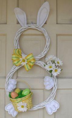 Easter Bunny Holiday Door Wreath Decoration by CustomCraftsbyLynn, $25.00.
