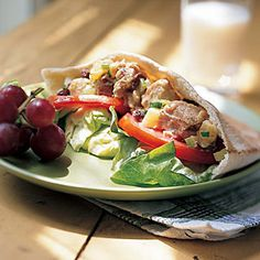 Fruity Tuna-Salad Pita Sandwiches | CookingLight.com #myplate #protein #vegetables #fruit