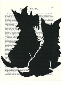 Two cute black Scottie Dogs are printed over a vintage book page.