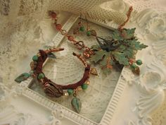 SEPTEMBER CHALLENGE, Parure, three piece jewelry set, necklace, earrings and bracelet. Verdigris Leaves set. Find me on Etsy, www.VRBBoutique.etsy.com.