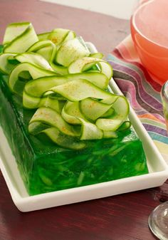 Cucumber-Lime Gelatin -- This refreshing and healthy living dessert recipe is ready to refrigerate after just 15 minutes of prep!