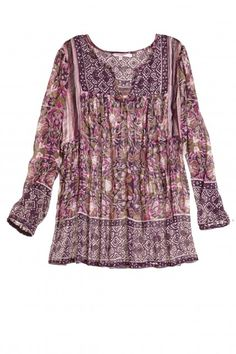purple printed blouse