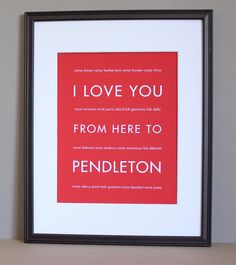Military Marine Corps Art, I Love You From Here To Pendleton, 8x10, Unframed