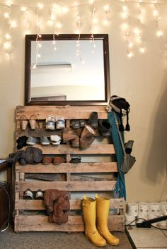 old pallet as shoe rack, we will be doing this at our house