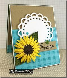 Cheerful Blessings, Gingham Background, Layered Leaves Die-namics, Open Scallop Doily Duo Die-namics, Stitched Circle STAX Die-namics, Sunflower Die-namics - Jodi Collins #mftstamps