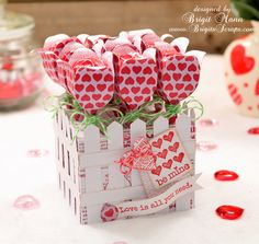 So cute and so fun!   Love the Limeade Trendy Twine Brigit used!  The Lollipop Garden is from FOR MY VALENTINE SVG KIT.