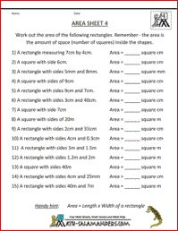 Area Worksheet, worksheet for 4th grade to find the area of rectangles without needing to draw them