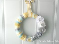 Yellow Gray and Tiffany Blue Yarn Wreath with by WreathsByEmmaRuth, $35.00 (found through Mum 'n the Oven)