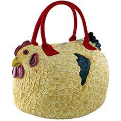 Featured on Martha Stewart. chicken thing, chicken craft, chicken idea, henbag, pet chicken, coin purses, chicken purse, hen purs, bags