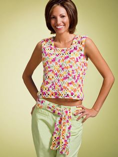 Crochet Clothes - Crochet Sweater  Top Patterns - Free Crochet Patter -- Tropical Tank and Belt
