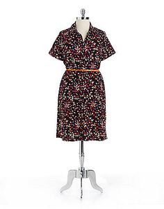 Women's Apparel | Dresses | Plus Printed Belted Shirtdress | Lord and Taylor
