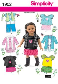 "Simplicity 1902 Summer Doll Clothes Pattern 18"" Fit American Girl Dolls Peasant Top"