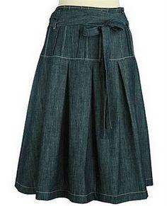 Denim drop pleated skirt