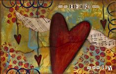art journal, nanci lefko, heart, collage art, background