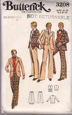 70s Vintage Mens Sewing Pattern Butterick 3208 Retro Suit Blazer Jacket Vest Pants
