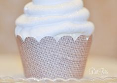 Burlap Print Cupcake Wrappers  Set of 24  by dillpicklepicnic