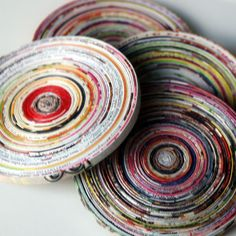 Coasters made from magazine pages are easy and eco friendly.
