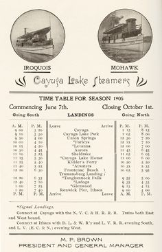 Cayuga Lake Steamboat schedule