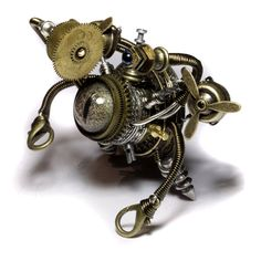 Steampunk Sculpture   Airship Beholder Robot  by CatherinetteRings, #steampunk #robot http://www.etsy.com/shop/CatherinetteRings