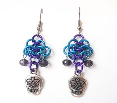 Earrings Day of the Dead Sugar skulls Chainmaille by DoBatsEatCats, $15.00