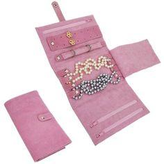 Pink Tri-Fold Travel Jewelry Case.