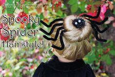 Doll Hairstyle: Spooky Spider Bun!