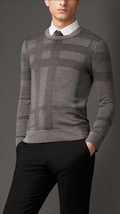 Burberry London Check Crew Neck Silk Sweater