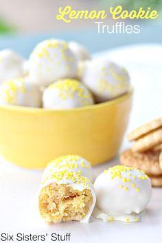 No Bake Lemon Cookie Truffles on SixSistersStuff.com - the easiest dessert you'll ever make!