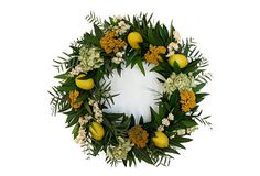 "18"" Lemon Wreath, Yellow on OneKingsLane.com This wreath features a gathering of flowers and faux lemons on a bed of greenery and twigs.  Made of: twigs/bay/pepper berry leaf/hydrangea/white larkspur/synthetic lemons.  To preserve color, keep away from moisture and heat."