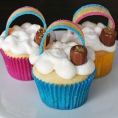 Rainbow Cupcakes with Pots of Gold by Grin and Bake It!
