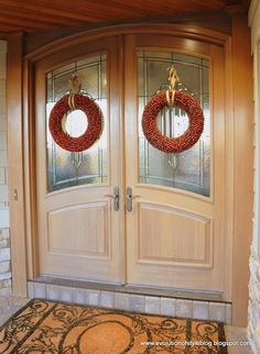Front door dressed up for the holidays