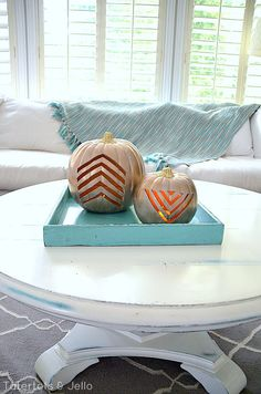 DIY Carved Gold Geometric Pumpkins -- Tatertots and Jello #DIY #Fall #Halloweenns
