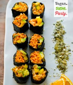 Have a vegan sushi party.. Golden Avocado Sushi Roll + Creative Vegan Sushi 101